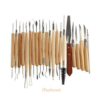 22pcs Stainless Steel and Wooden Handle Clay Pottery Sculpture Tool New #T1K