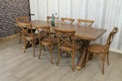 Large 10Ft Handmade To Order Reclaimed Pine Trestle Base Dining Table Clifton