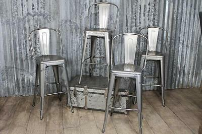 Vintage Industrial Tolix Style Gun Metal Bar Stools With Back Rest