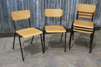 Black Frame Straight Leg Stacking Chairs Stackable Vintage Restaurant Chairs