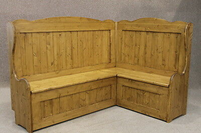 Tall Rustic Corner Bench Settle With High Back Handmade In Rustic Pine 5Ft X 6Ft