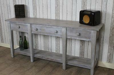 Handmade 5Ft Reclaimed Pine Sideboard Console Table In A Lime Wash Finish Naples