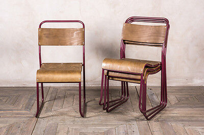 Industrial Purple Stacking Chair Vintage School Chair With Pink Metallic Frame
