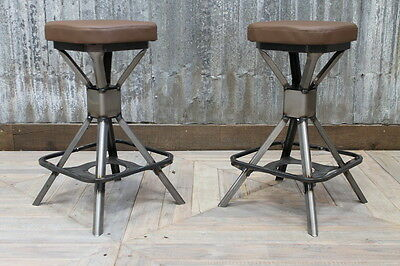 Low Industrial Style Machinist Stool Uk Manufactured Backless Steel Bar Stool