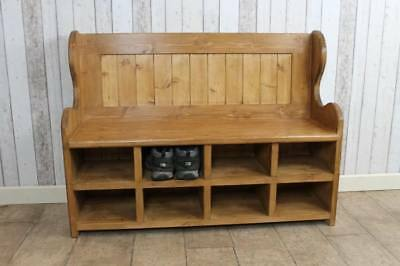 HANDMADE 150cm PINE SETTLE MONKS BENCH PEW WITH SHOE STORAGE COMPARTMENTS