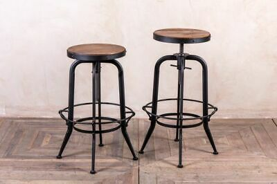 Height Adjustable Machinist Stool Metal Swivel Stool Industrial Look Bar Stool