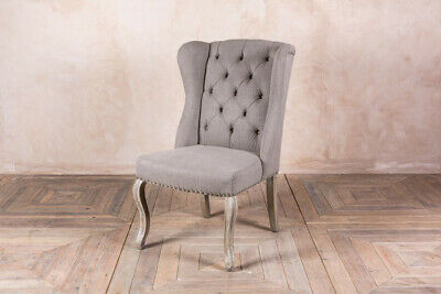 Button Back Winged French Style Dining Chairs In Stone Linen With Limed Legs