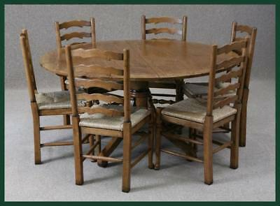 Handmade Solid Oak Round Extending Dining Table Wooden Dining Table Kitchen