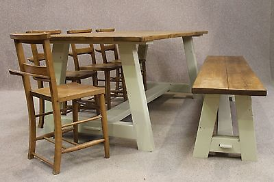 Reclaimed Pine  A-Frame Rustic Farmhouse Table With Painted Base 200Cm