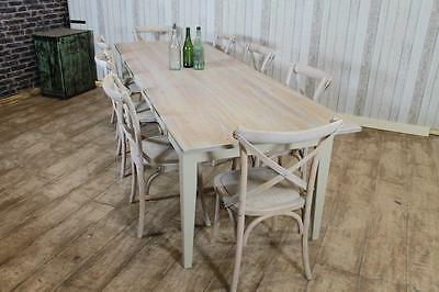 Large 9Ft Handmade Rustic Pine Farmhouse Table Bleached Driftwood Finish Bespoke