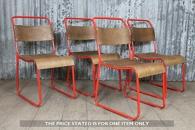 Vintage Style Metal Stacking Chairs Industrial Look Cafe Chair With Red Frame