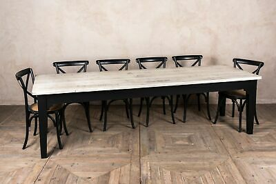 Large 9Ft Rustic Reclaimed Pine Table With A Painted Shabby Chic Distressed Base