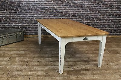 180Cm Reclaimed Rustic Pine Kitchen Table With A Painted Shabby Chic Base
