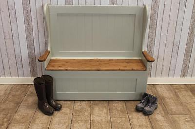 Handmade 3Ft Rustic Pine Settle Monks Bench Hand Painted In Farrow & Ball