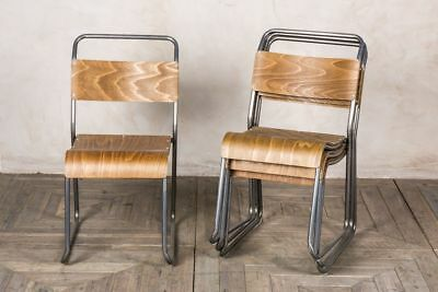Industrial Vintage Style Gunmetal Stacking Chairs With Plywood Seats