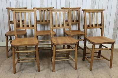 Solid Oak Traditional Style Chapel Chair Dining Chairs With Vertical Back Slats