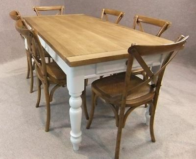 9Ft (274.5Cm) Oak And Pine Country Farmhouse Kitchen Table With Painted Base