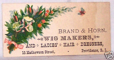 Antique Business Trade Card-Wig Maker-Providence-Brand