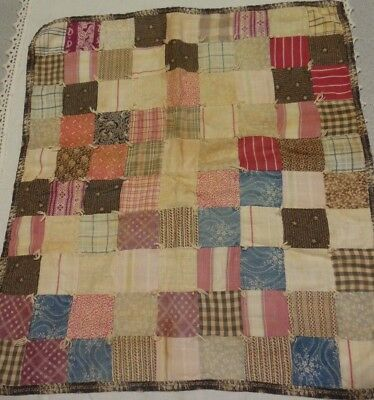 Antique Primitive Early Blue Brown Calico Fabric Doll Quilt