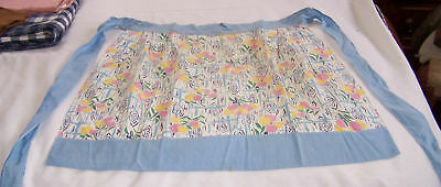 Vintage Home Made Half Kitchen Apron-Spring-Tulips