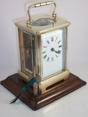 Antique French brass carriage clock & key. Complete overhaul/service Sept 2017