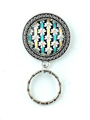 Daisies with Teal Black Stripes Magnetic Badge Eyeglass Holder, Magnetic Brooch