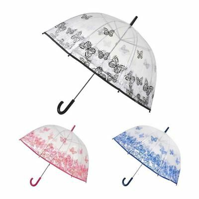 Butterfly Print Dome Umbrella Clear PVC Drizzles Manual Open Brolly Walking City