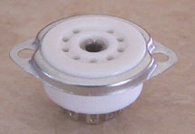 9 pin Ceramic Tube Socket with Retaining Ring 7/8""