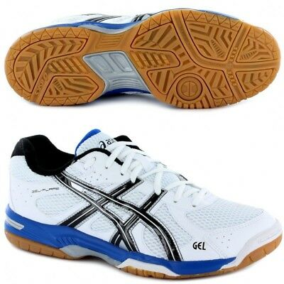 Mens White ASICS Gel Flare 4 Indoor court Badminton Squash Trainers Shoes Size