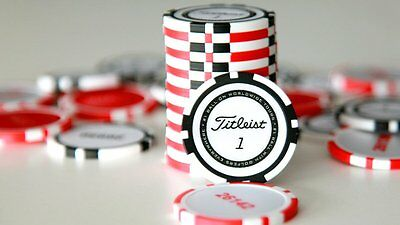 Titleist Poker Chip Golf Ball Marker. Red / White.