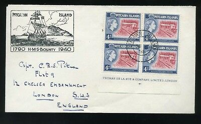 1958 Pitcairn Island Cover 4d Imprint block of 4 HMS Bounty Illustration