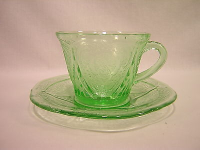 Hazel Atlas Glass ROYAL LACE Depression Green Cup & Saucer
