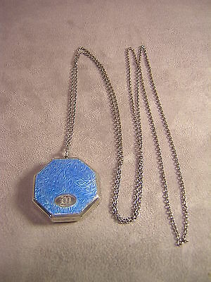 """Blue Guilloche Enameled 1 3/4"""" Compact on 50"""" Chain"""