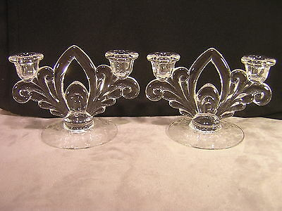 Cambridge Glass ROSE POINT Double Light Candle Holder Stick ~ Pair