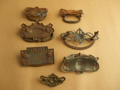 7 Reclaimed Antique / Vintage Metal Draw / Chest Handles Architural  Salvage