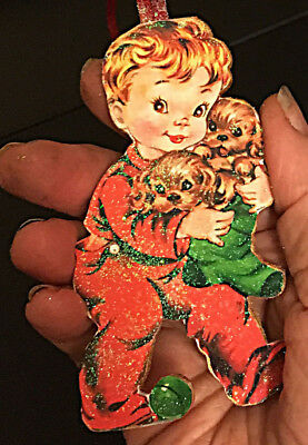 Boy & Puppies Ornament Christmas Handcrafted Wood Red Pajamas, Cocker Spaniels