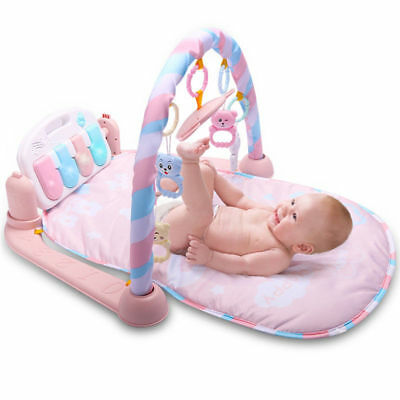 Baby Fitness Play Mat Musical Kick To Play Piano Lights&Sounds Activity Playmat