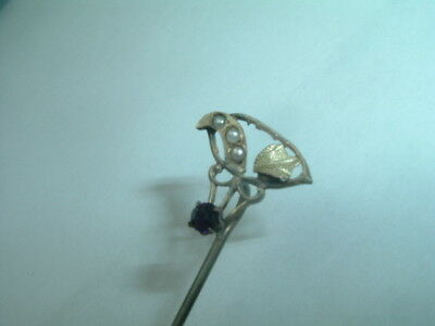 Vintage Victorian Seed Pearl and Ruby Mens Lapel Tie Stick Pin in Gift Box