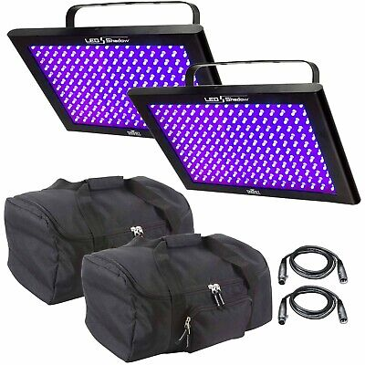 (2) Chauvet DJ LED Shadow Blacklight Wash Panel + Carry Cases + Cables