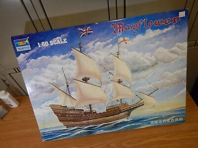"MAYFLOWER: Trumpeter Sailing Ship Model #01201: 1/60 Scale: 24"" Long: 1991"