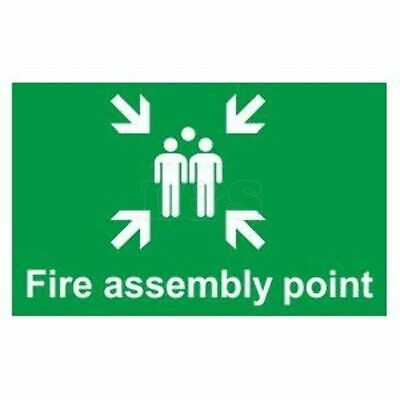 'Fire Assembly Point' Sign 400mm x 300mm Gloss, Self Adhesive Flexible PVC