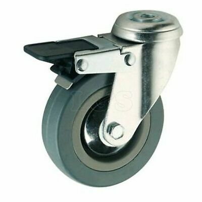 "4"" Grey Rubber Swivel Castor Wheel Braked"