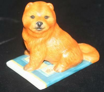"Vintage Chow Dog Hand Painted Bisque Porcelain Figurine on Rug 4.5""L"