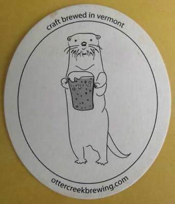 OTTER CREEK BREWING used Beer COASTER, Mat with OTTER, Middlebury, VERMONT 2004