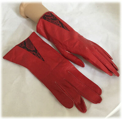 Vintage Ladies Red Over Wrist Length Real Kid West Germany Leather Gloves 7.5