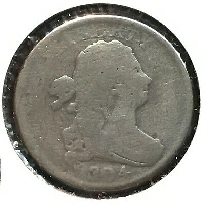 1804 1/2C Plain 4 No Stems Draped Bust Half Cent [Auto Comb. Shipping](30987)