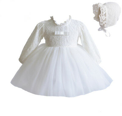 Cinda Baby Girl Long Sleeve Ivory Lace Christening Dress with Bonnet 0-3 Months