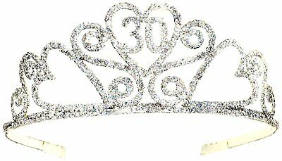 Happy 30th Birthday Silver Glitter Tiara Crown Gift Costume Accessory Novelty