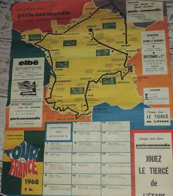 CYCLISME AFFICHE TOUR DE FRANCE 1968 PARIS NORMANDIE anquetil gimondi pingeon