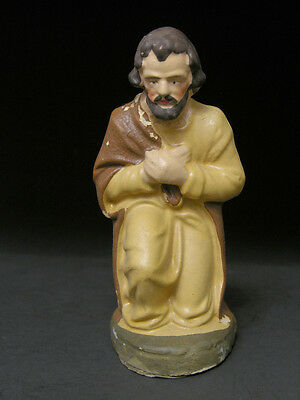 Early to Mid 20th C Nativity Scene Joseph Kneeling, Hand Painted Germany, 4 5/8""